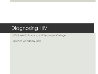 Diagnosing HIV