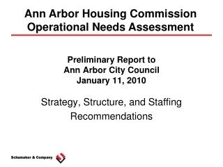 Preliminary Report to  Ann Arbor City Council January 11, 2010