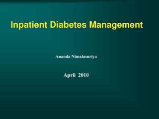 Inpatient Diabetes Management