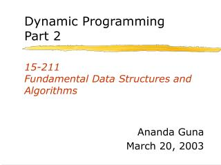 15-211 Fundamental Data Structures and Algorithms