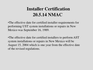 Installer Certification 20.5.14 NMAC