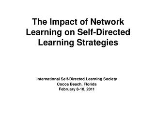 The Impact of Network Learning on Self-Directed Learning Strategies
