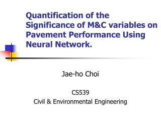 Quantification of the Significance of M&C variables on Pavement Performance Using Neural Network.