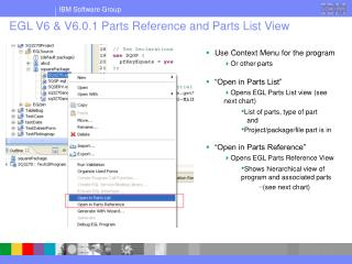 EGL V6 & V6.0.1 Parts Reference and Parts List View