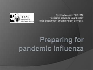 Cynthia Morgan, PhD, RN Pandemic Influenza Coordinator Texas Department of State Health Services