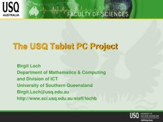 The USQ Tablet PC Project