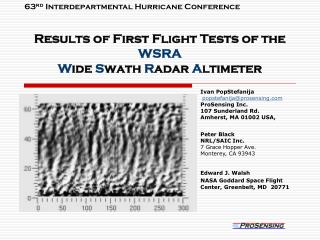 Results of First Flight Tests of the  WSRA W ide  S wath  R adar  A ltimeter