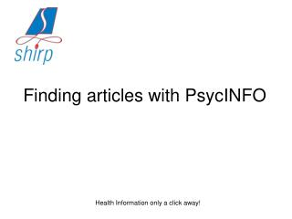 Finding articles with PsycINFO
