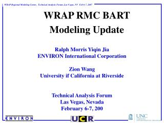 WRAP RMC BART Modeling Update