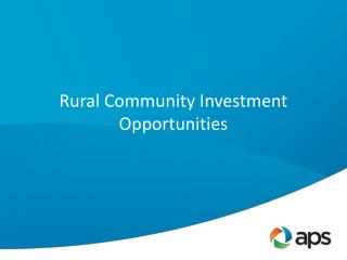 Rural Community Investment Opportunities