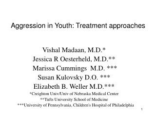 Aggression in Youth: Treatment approaches
