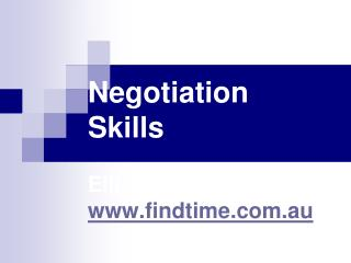 Negotiation Skills Elliot Hayes  findtime.au
