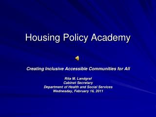 Housing Policy Academy
