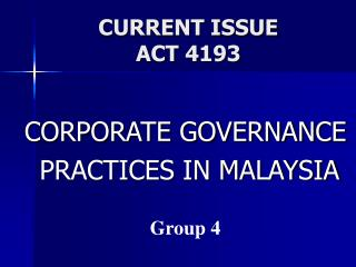 CURRENT ISSUE ACT 4193