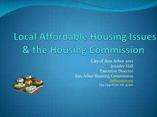 Local Affordable Housing Issues & the Housing Commission