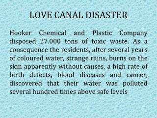 LOVE CANAL DISASTER
