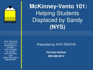 McKinney-Vento 101:  Helping Students Displaced by Sandy  (NYS)