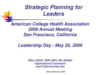 Strategic Planning for Leaders