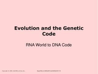 Evolution and the Genetic Code