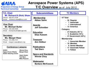 Aerospace Power Systems (APS) T/C Overview  as of  July 2012