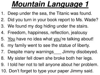 Mountain Language 1