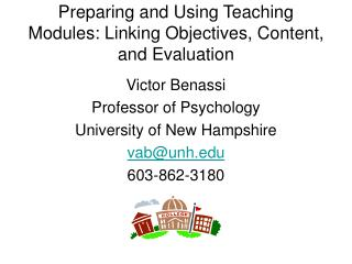 Preparing and Using Teaching Modules: Linking Objectives, Content, and Evaluation