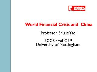 World Financial Crisis and  China