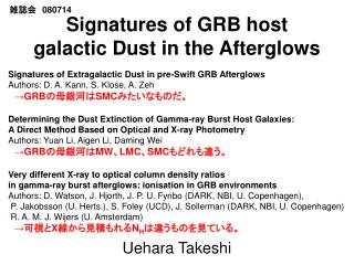 Signatures of GRB host galactic Dust in the Afterglows
