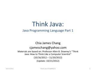 Think Java: Java Programming Language Part 1