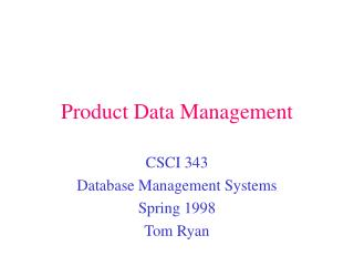 Product Data Management