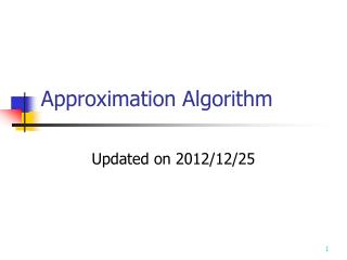 Approximation Algorithm