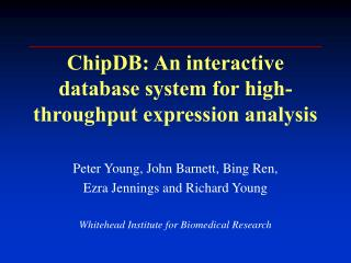 ChipDB: An interactive database system for high-throughput expression analysis