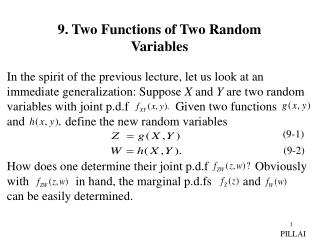 9. Two Functions of Two Random Variables