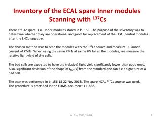 Inventory of the ECAL spare Inner modules  Scanning with  137 Cs