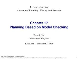 Chapter 17 Planning Based on Model Checking