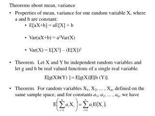 Theorems about mean, variance