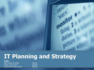 IT Planning and Strategy