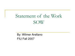 Statement of the Work SOW