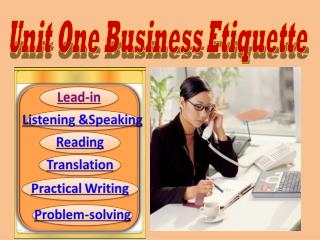 Unit One Business Etiquette