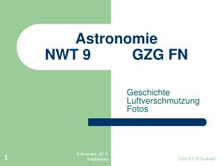 Astronomie  NWT 9				GZG FN