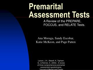 Premarital Assessment Tests