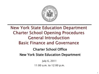 Charter School Office New York State Education Department