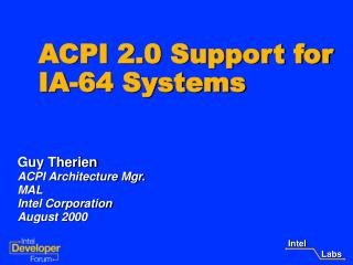 ACPI 2.0 Support for IA-64 Systems
