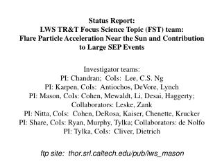 Status Report: LWS TR&T Focus Science Topic (FST) team: