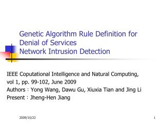 Genetic Algorithm Rule Definition for Denial of Services Network Intrusion Detection