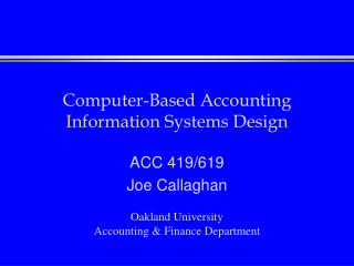 Computer-Based Accounting Information Systems Design