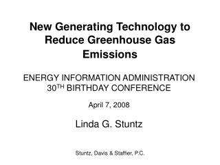 New Generating Technology to Reduce Greenhouse Gas Emissions