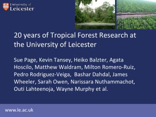 20 years of Tropical Forest Research at the University of Leicester