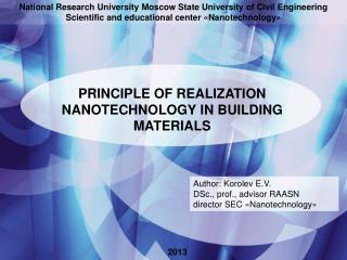 PRINCIPLE OF REALIZATION  NANOTECHNOLOGY IN BUILDING MATERIALS