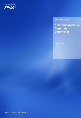 KPMG International Corporate Citizenship